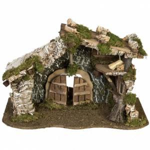 Capanne Presepe e Grotte: Capanna presepe porta e tetto 32x50x24 cm