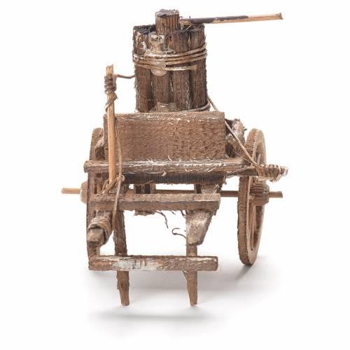 Cart with press, Neapolitan Nativity 12x20x8cm s4