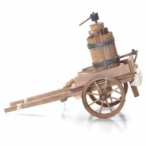Cart with pressing machine, Neapolitan Nativity 10x18x8cm s2