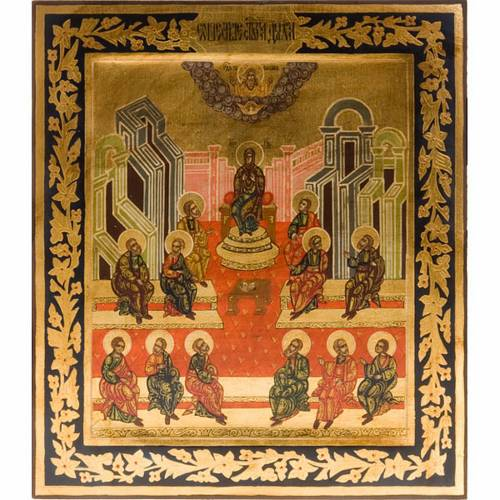Carved Russian icon, Pentecost 26x31, hand painted s1