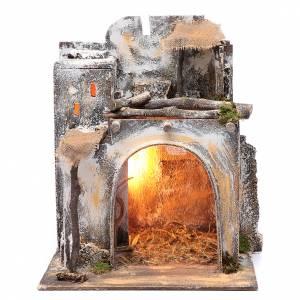 Belén napolitano: Casa árabe 35 x 30 x 25 cm luz y cabaña con heno