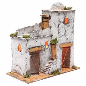 Belén napolitano: Casa árabe 35 x 35 x 20 cm luz y portas de madera