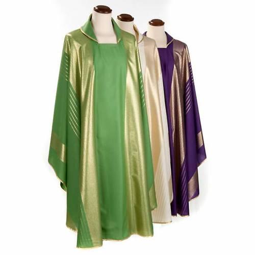 Casula liturgica strisce dorate pura lana s1