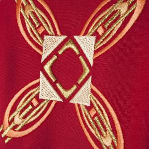 Casula religiosa con stola rosso e rosa s4