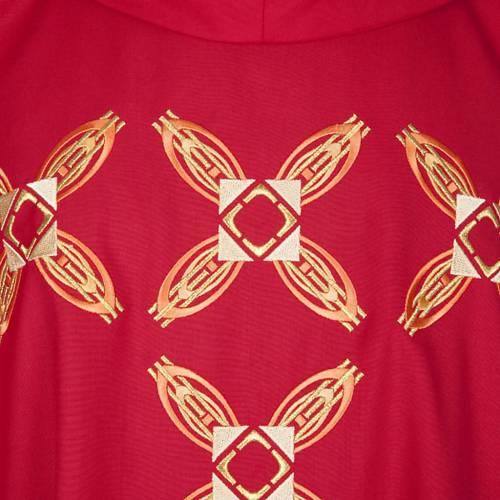 Casula religiosa con stola rosso e rosa s3