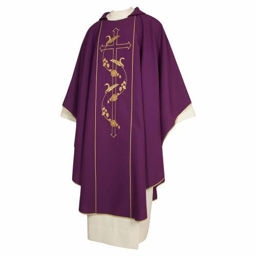 Casula sacerdotale 100% poliestere croce spighe color morello s1