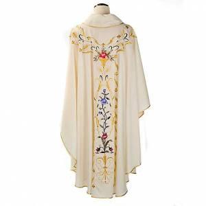 Casula sacerdotale fiori decorazioni 100% lana s2