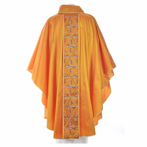 Casula sacerdotale seta 100% ricamo croce s4