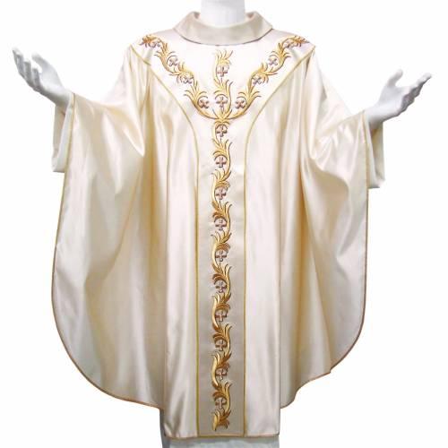 Casulla 100% seda pura natural BORDADO A MANO cruces y ornamento s1