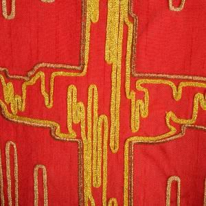 Casulla litúrgica shantung bordado cruz estilizada dorada s5