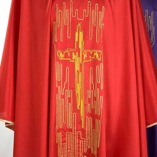 Casulla litúrgica shantung bordado cruz estilizada dorada s4