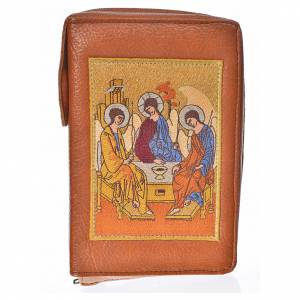 Catholic Bible covers: Catholic Bible Anglicised cover brown bonded leather with Holy Trinity image