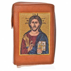 Catholic Bible covers: Catholic Bible Anglicized cover in brown bonded leather with image of the Christ Pantocrator