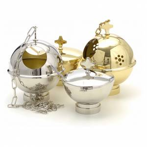 Censer and boat in gold or nickel plated brass s2