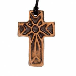 Ceramic cross pendant decorated s2