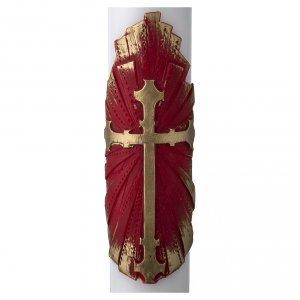 Candele, ceri, ceretti: Cero pasquale bianco croce antica