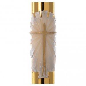 Candele, ceri, ceretti: Cero pasquale bianco RINFORZO Croce fondo dorato 8x120 cm
