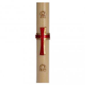Candele, ceri, ceretti: Cero pasquale cera d'api RINFORZO Croce rilievo rossa 8x120 cm