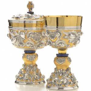 Chalice and Ciborium brass, sodalite mod. Olive, hand chiselled s2
