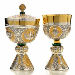Chalice and Ciborium in brass and malachite mod. Tassillo, hand s1