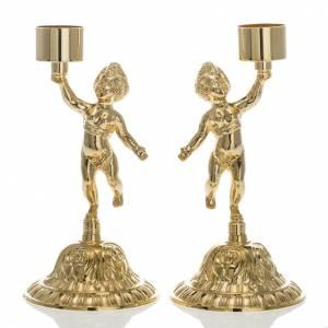 Chandeliers d'autel, duo putti laiton doré s1