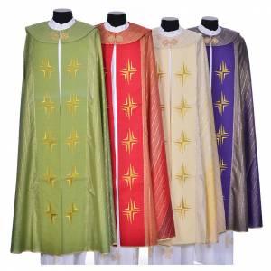 Chapes, Chasubles Romaines, Dalmatiques: Chape 100% laine brossée double retors croix