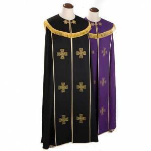 Chapes, Chasubles Romaines, Dalmatiques: Chape liturgique croix dorées, noire violette