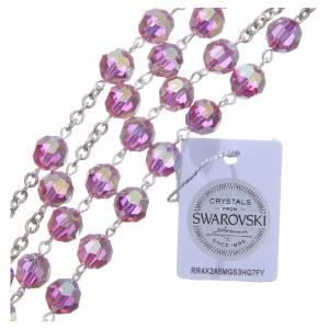 Chapelet argent 800 cristal Swarovski rose 8 mm s3