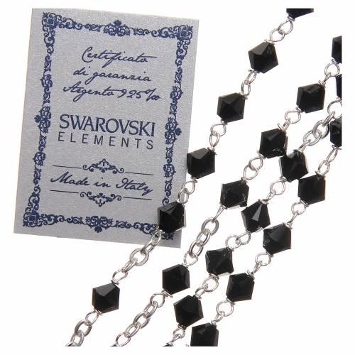Chapelet argent 925 Swarovski chaîne mailles rondes 6 mm noir s3