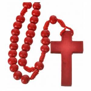 Chapelets en bois: Chapelet bois rouge 7mm corde en soie