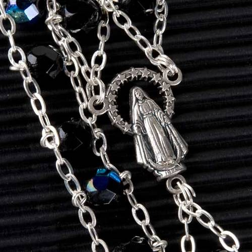 Chapelet cristal, chaîne double, noir s2