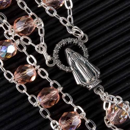 Chapelet cristal, chaîne double, rose s2
