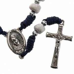 Bracelets, dizainiers: Chapelet de la Paix terre de Medjugorje corde bleue