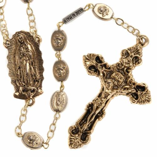 Chapelet Ghirelli doré Notre Dame de Guadalupe 9mm s1