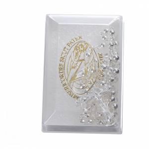 Chapelets en métal: STOCK Chapelet logo Jubilé Miséricorde métal grains 4 mm