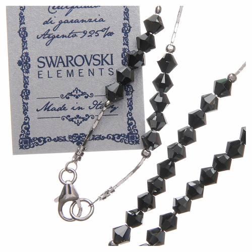 Chapelet Swarovski et argent 925 grains 4 mm noir s3