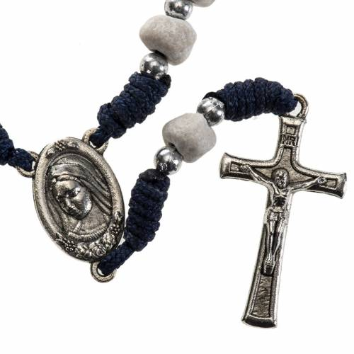 Chaplet with Medjugorje soil, blue cord and stone s1
