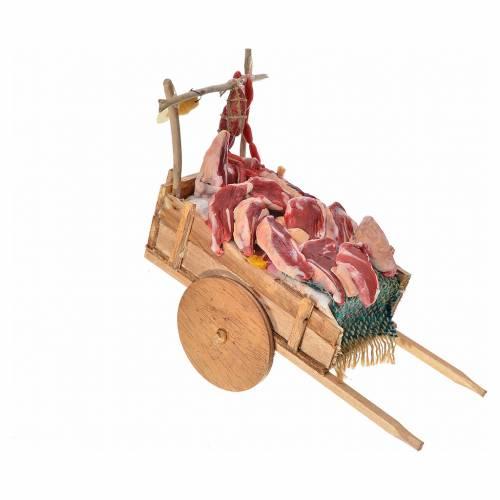 Char avec viande en cire crèche napolitaine 10x18,5x7 s2