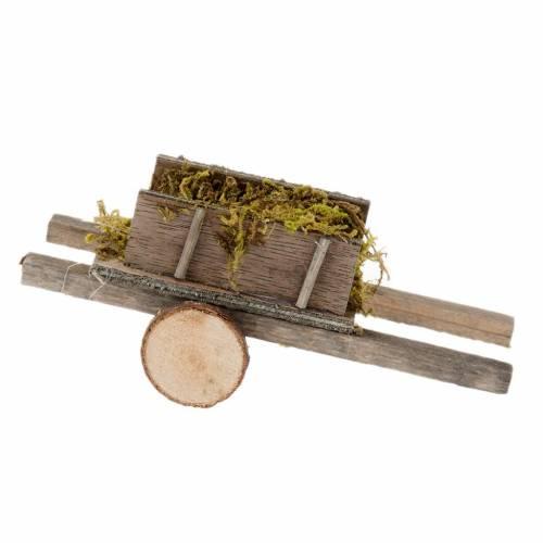Charrette bois avec mousse miniature crèche noël s2