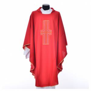 Chasuble 100% polyester croix or et blanc s5