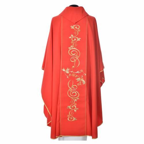 Chasuble 80% polyester 20% laine décor IHS doré s8