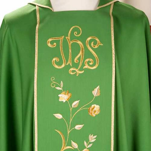 Chasuble and stole in 100% wool, IHS roses s6