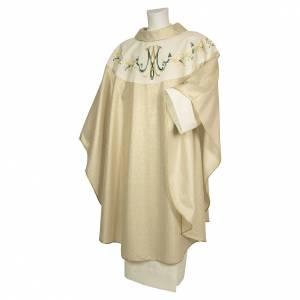 Chasubles: Chasuble brodée fleurs mariale 100% pure laine naturelle