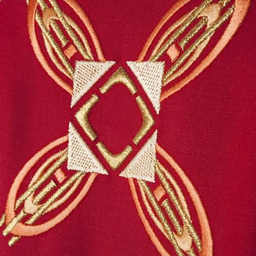 Chasuble et étole rouge et rose s4
