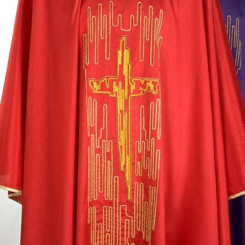 Chasuble golden stylized cross shantung s4