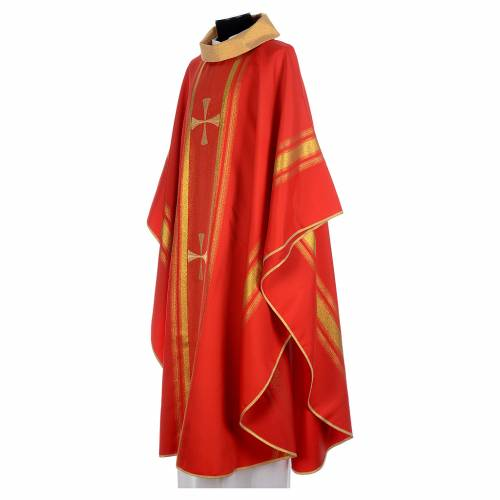 Chasuble in 100% polyester, cross and golden embroidery s2