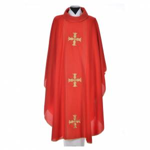 Chasubles: Chasuble in 90% bamboo and 10% natural viscose with golden cross