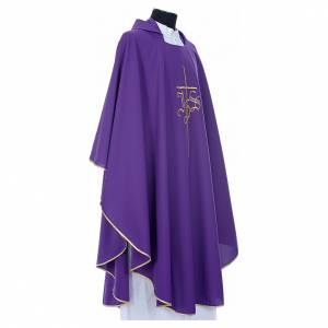 Chasuble in polyester with JHS and cross symbol s4