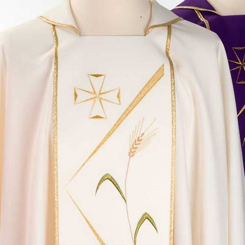 Chasuble liturgique broderies stylisées s4