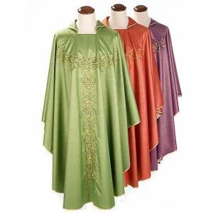 Chasuble liturgique lurex broderies dorées s1